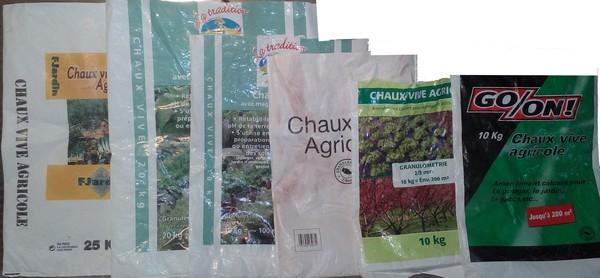 Chaux agricoles (10-20-25 kg)