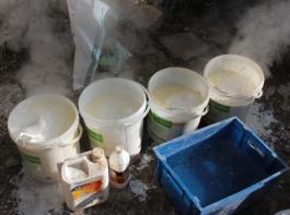 Extinction à chaud avec l'huile de lin